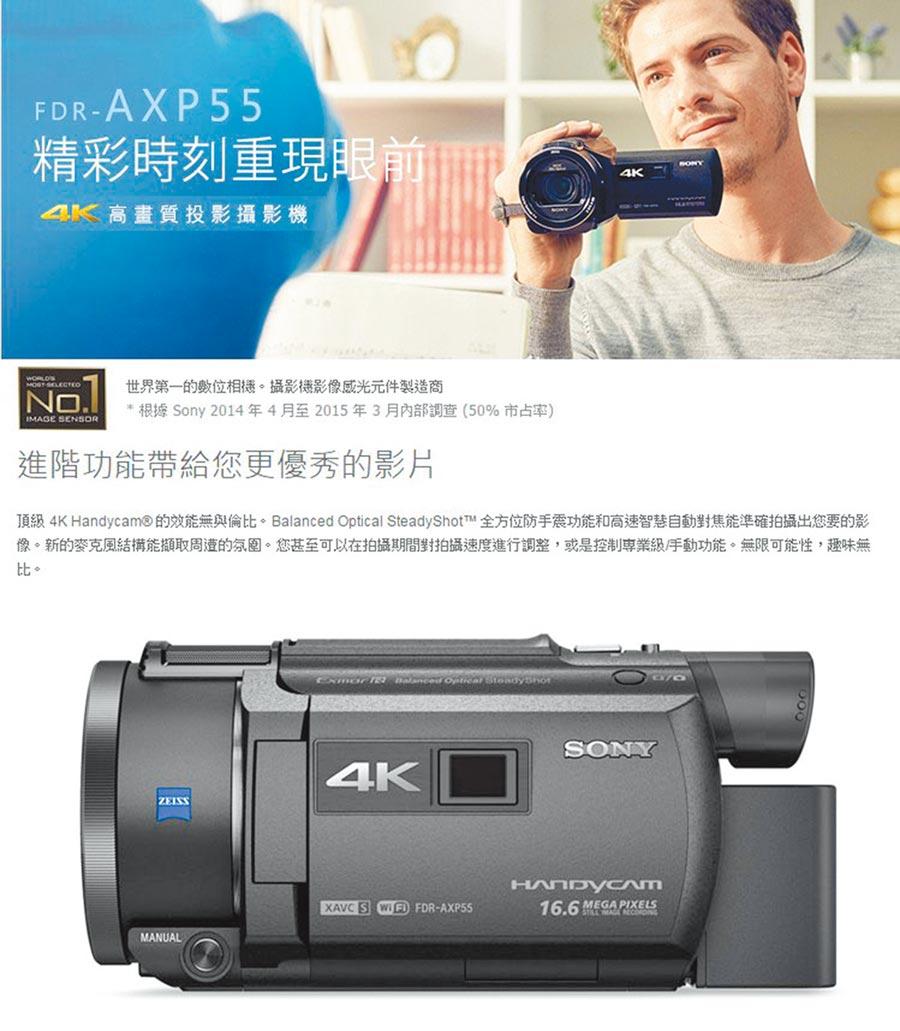 PChome24h購物祭出「8月心禮節」活動,SONY 4K數位攝影機FDR-AXP55,原價5萬4900元,8月1日前特價4萬9900元。(翻攝PChome24h購物)