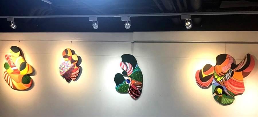 ▲卓惠美的「漂流」系列,以泰特有的形、色、線的表現,展現泰雅的生命力。(楊樹煌攝)