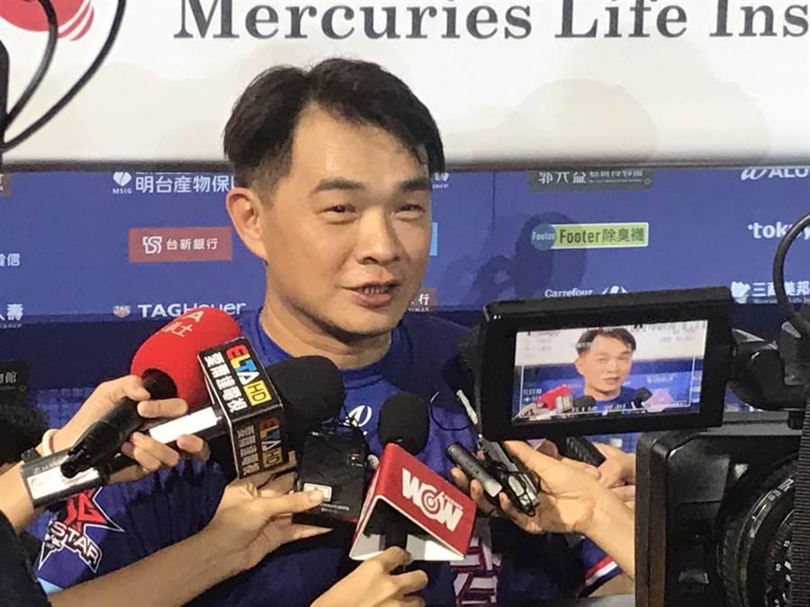 彭政閔在明星賽敲出2分炮,獲選為單場MVP。(鄧心瑜攝)