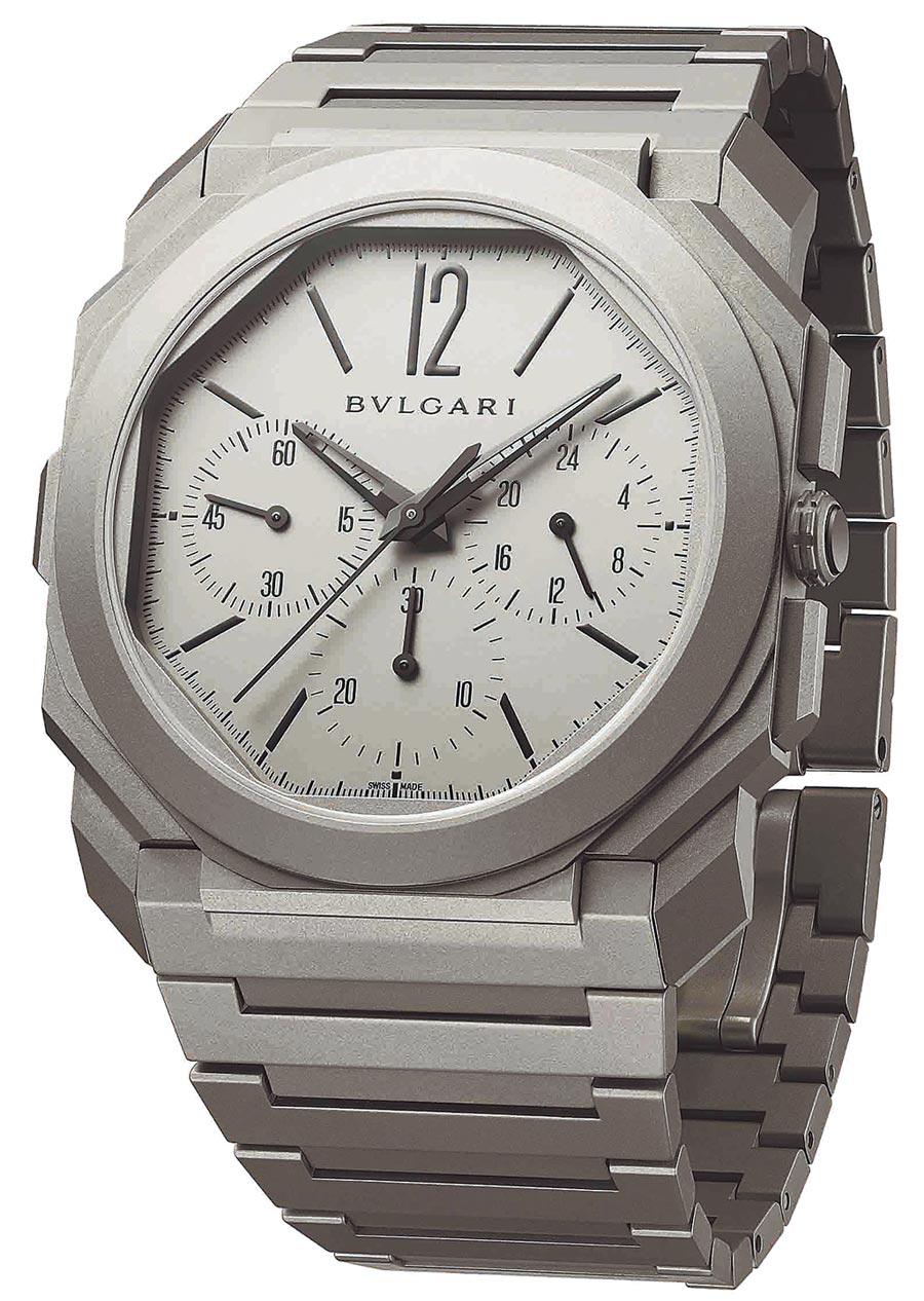 寶格麗打破世界最薄機械計時碼表的Octo Finissimo超薄計時GMT自動上鍊腕表,55萬9000元。(BVLGARI提供)