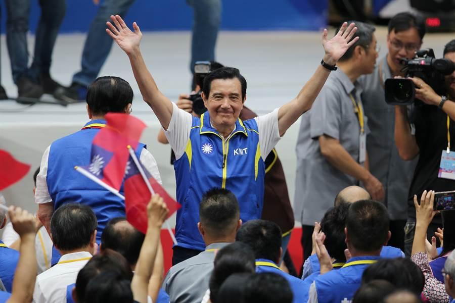 前總統馬英九出席國民黨第20屆第3次全國代表大會。(黃世麒攝)