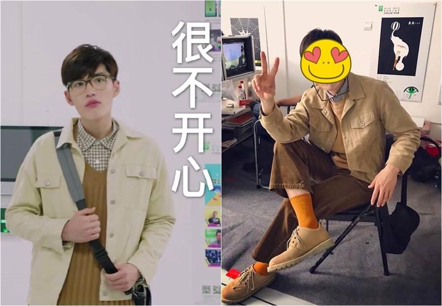 在夯劇《親愛的,熱愛的》中苦追女主角的鄭輝學長,其實是台灣演員曲獻平,拔掉眼鏡後是個大帥哥。(合成圖/翻攝自微博)
