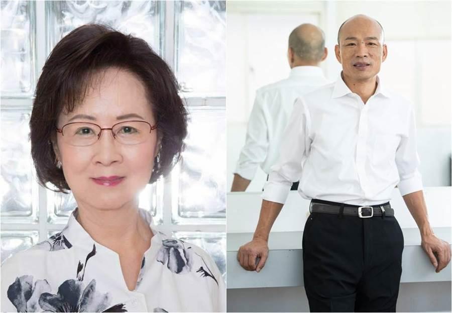 今(28)日國民黨全代會正式通過高雄市長韓國瑜為黨內唯一代表參加2020的總統參選人,作家瓊瑤興奮到充血。(合成圖/翻攝自臉書)