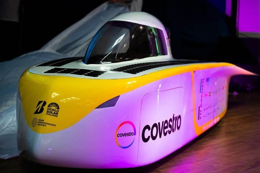 科思創透過創新材料、技術支援等,擔任德國阿亨工業大學所發起之太陽能戰車計畫的主要贊助商。圖/科思創提供