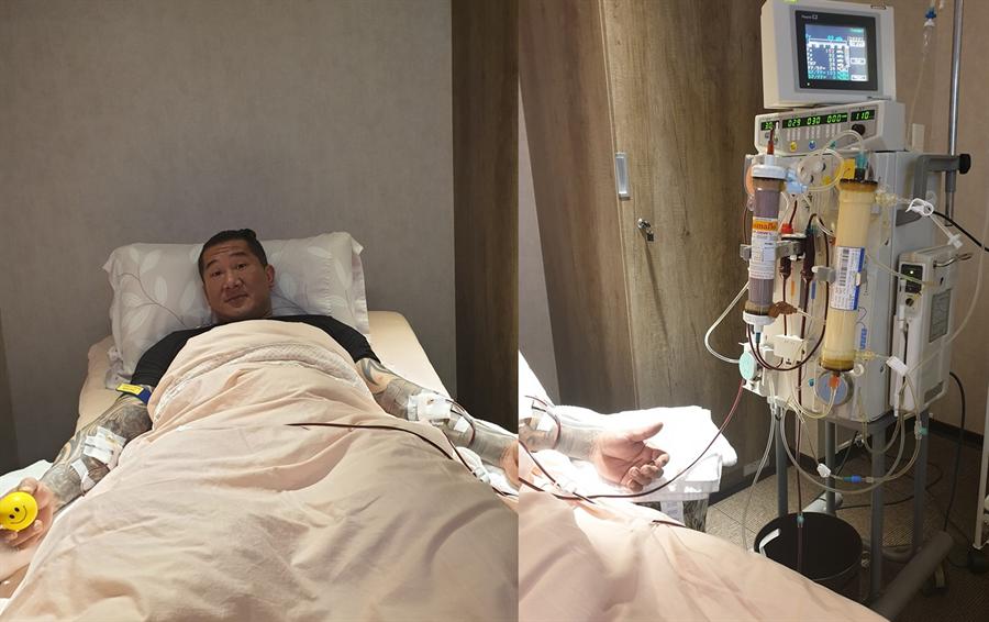 圖為館長躺在病床上換血。(翻攝自 飆捍臉書)