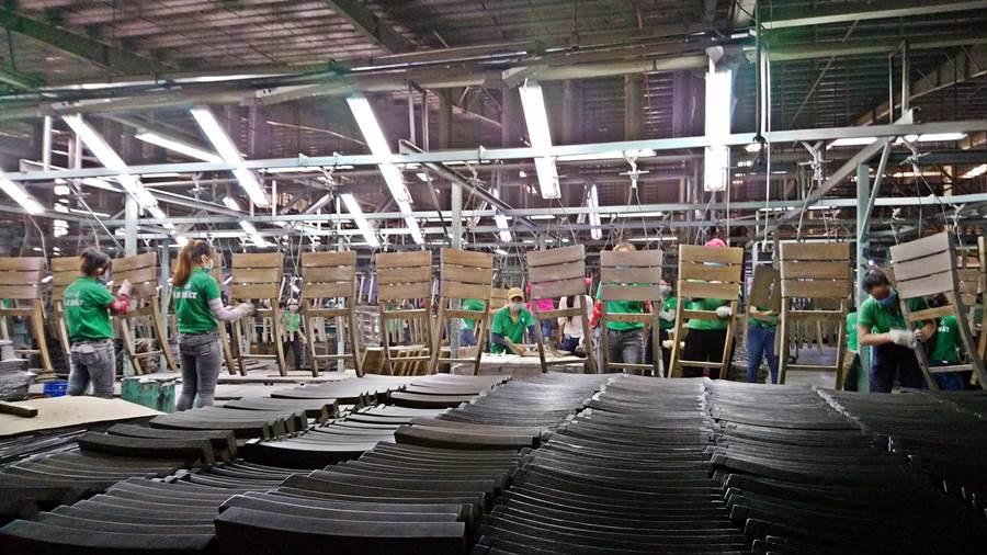 中美貿易戰使越南成為投資新歡的受益東協國家,卻也面臨熱錢湧入造成的缺工缺地、成本競爭加劇等副作用。圖為越南家具公司「新日木業」位於南越平陽省的工廠實景。(林資傑攝)