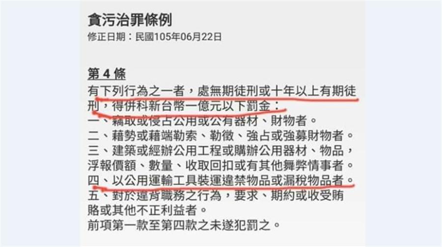 華航私菸案,網友PO出貪汙治罪條例說明。(翻攝自臉書)