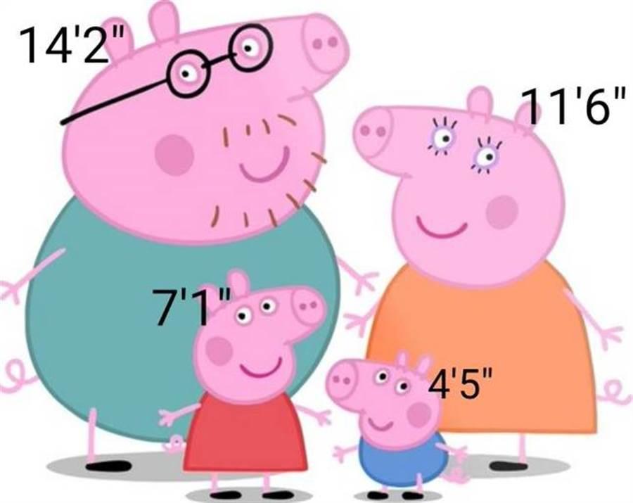 網友也依佩佩豬身高來推測其他家人的身高。(圖/翻攝自網路)