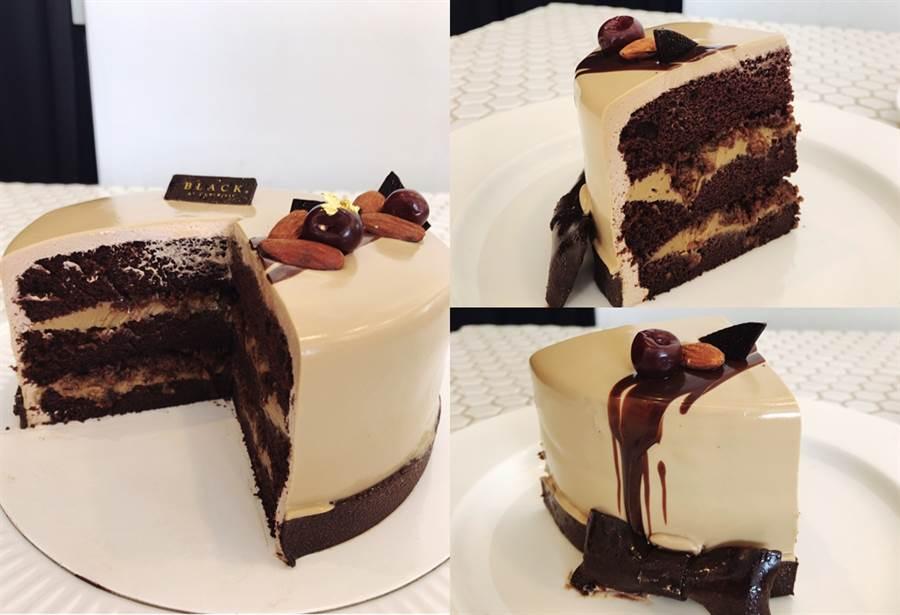 「啡常紳士」6吋,售價NT.990元,是帶有咖啡香氣的巧克力蛋糕,吃起來除了柔軟的海綿蛋糕,還吃得到巴芮脆片,口感非常豐富。(圖/邱映慈攝影)