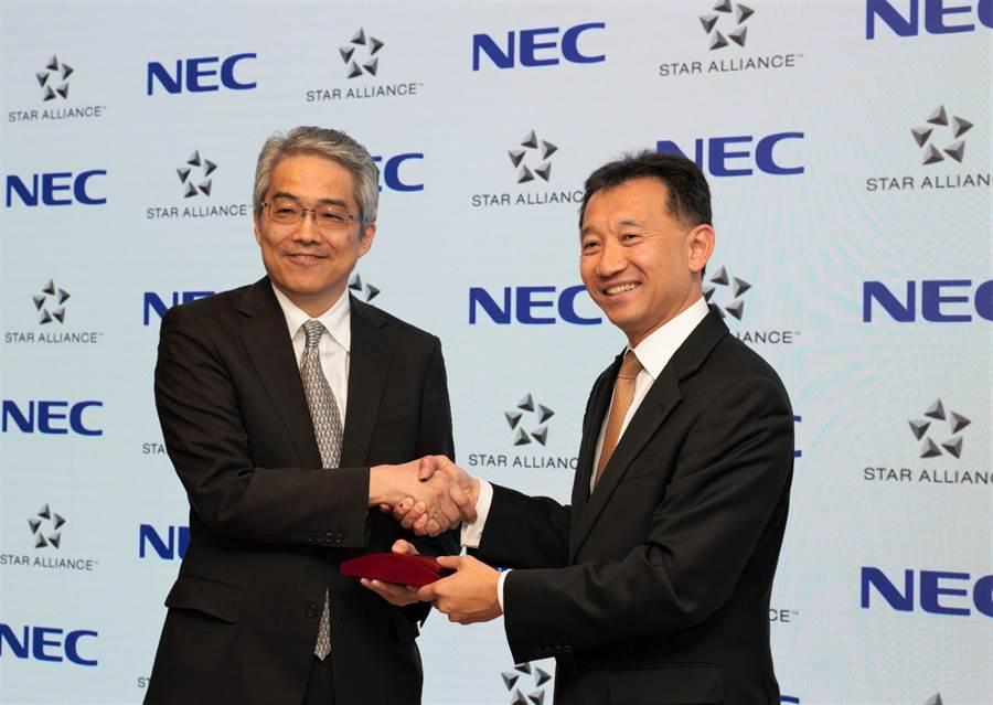 星空聯盟今與資訊網路暨生物辨識科技品牌NEC簽訂合作協議。(長榮航空提供)