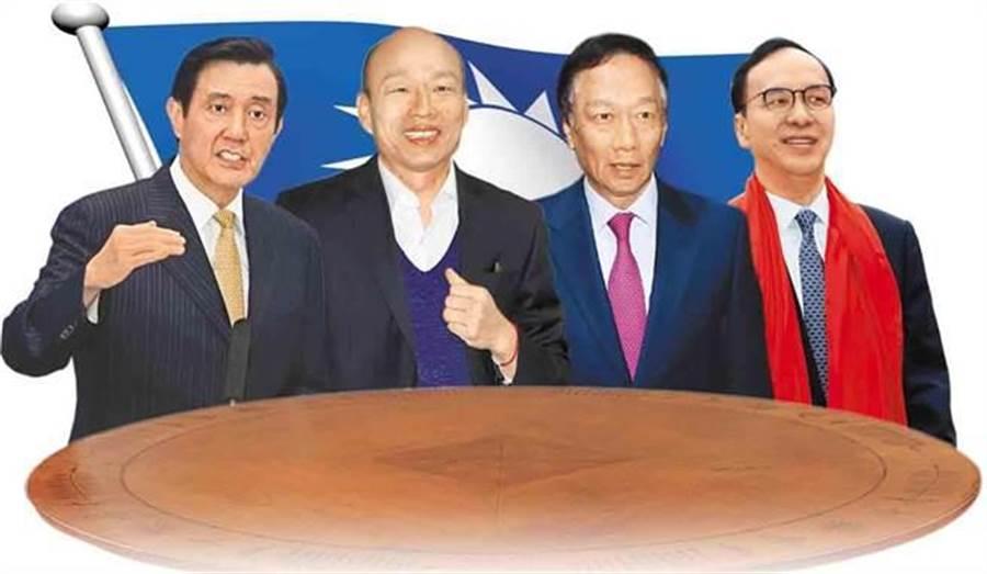 前總統馬英九(左1)、高雄市長韓國瑜(左2)、鴻海董事長郭台銘(右2)、前新北市長朱立倫(右)。(圖/本報資枓照片)