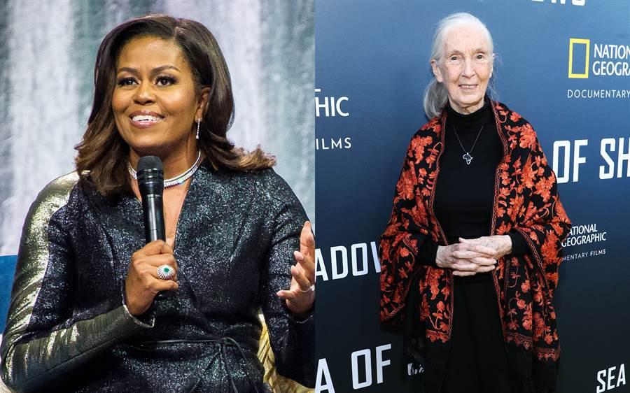 梅跟專訪蜜雪兒歐巴馬(Michelle Obama)(左圖)與知名人類學家珍古德(Jane Goodall)(右圖)。(圖/達志影像)