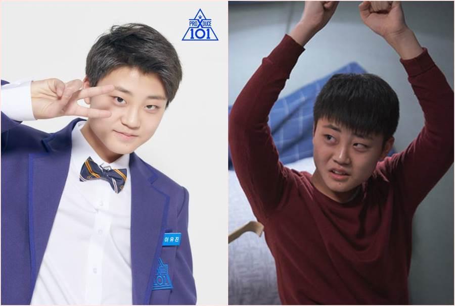曾在韓劇《天空之城》與選秀節目《Produce x 101》演出的童星李有鎮,過去方塊臉如今神進化變瓜子臉。(合成圖/翻攝自韓網)