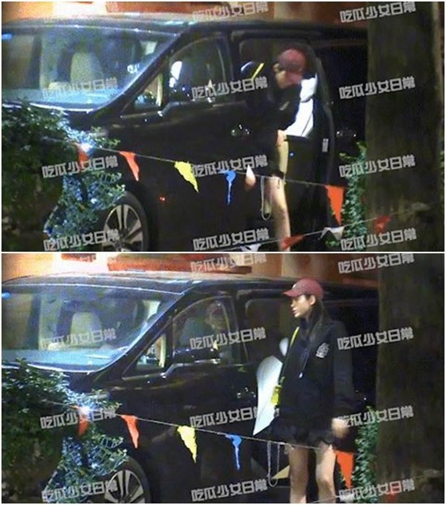 奚夢瑤被拍到下車動坐吃力,凸肚明顯。(圖/翻攝自微博)