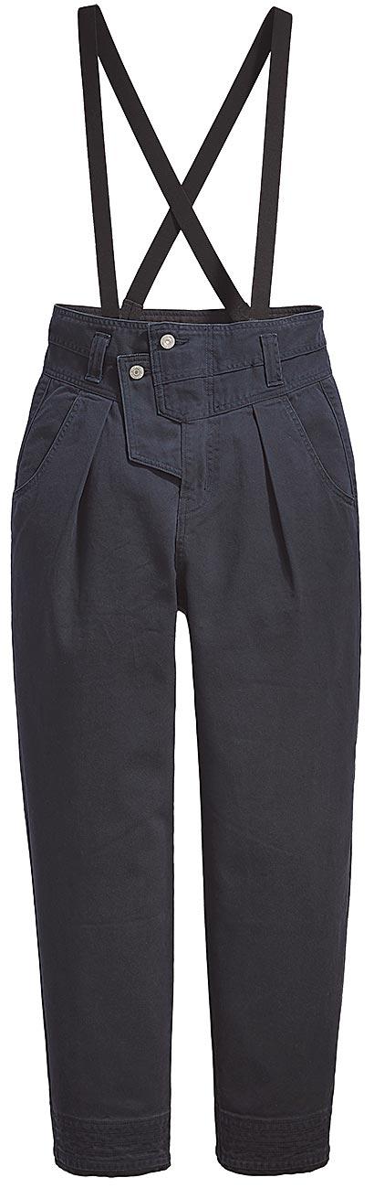 限量搶購款LEVI'S × STRANGER THINGS聯名褶線吊帶褲,4390元。(LEVI'S提供)