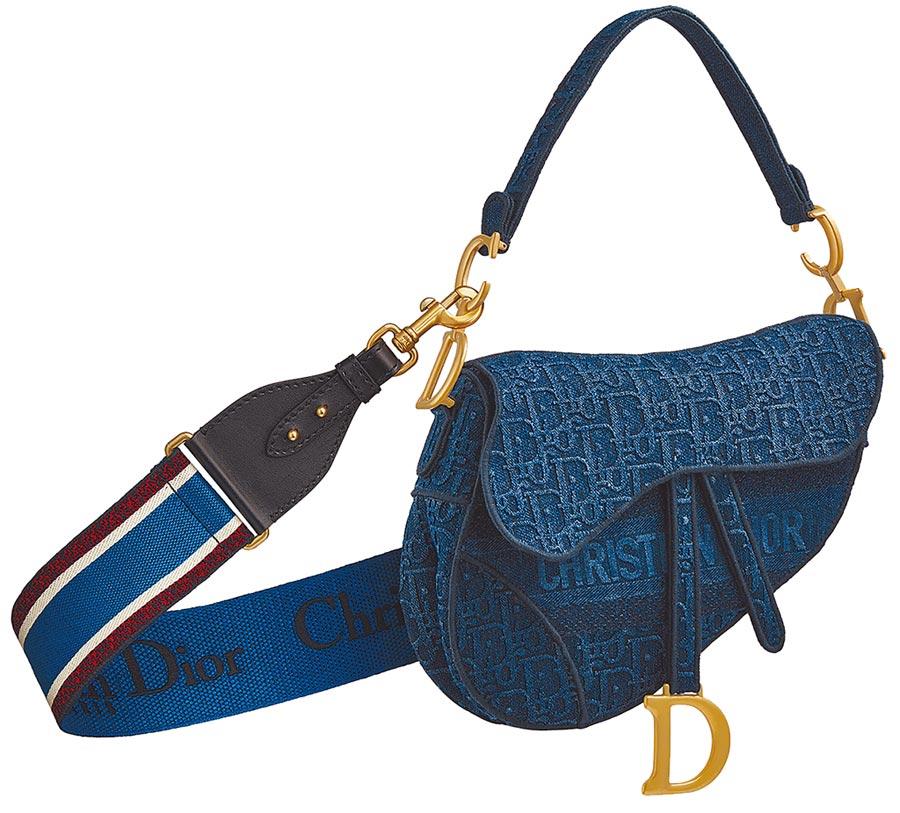 Dior Saddle Oblique刺繡丹寧帆布馬鞍包,12萬元。(Dior提供)
