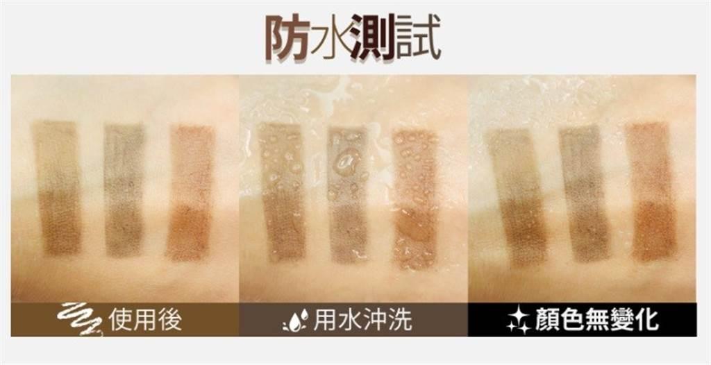 BeautyMaker完美立體持色眉膠筆防水測試。(圖/品牌提供)