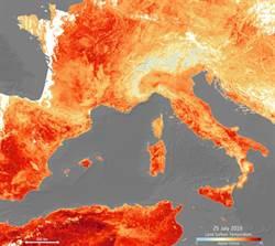 衛星影像看歐洲熱浪 大地通紅如陷赤焰之中