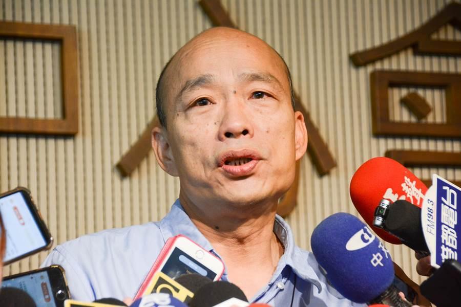 針對台教會籲公部門拒訂中時,高雄市長韓國瑜怒斥「自以為拿正義之劍」。(林宏聰攝)