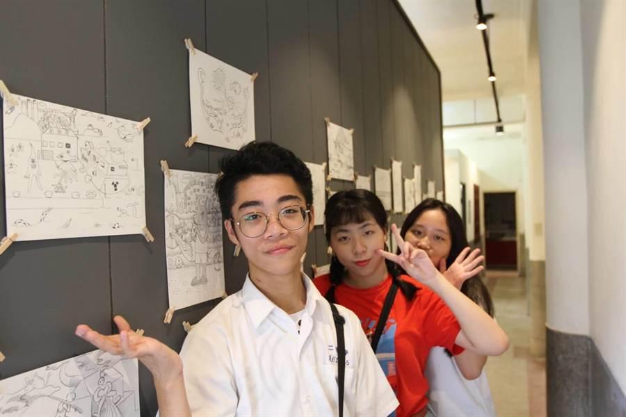 二信高中學生插畫作品,即日起至9月29日於正濱漁港插畫節活動中展示。(二信高中提供)