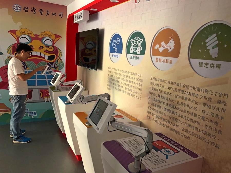 台電打造金門綠能示範島,民眾可在智慧電網展示場看到未來願景。(李金生攝)