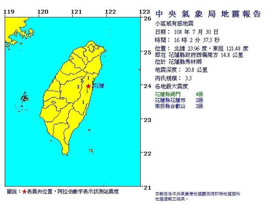 花蓮今日下午發生一起地震,規模3.3,最大震度4級。(圖/取自氣象局網頁)