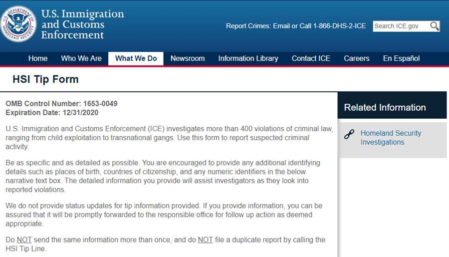華裔人士利用U.S. Immigration and Customs Enforcement (ICE) 表格,檢舉私菸案。(圖/取自ICE網站)