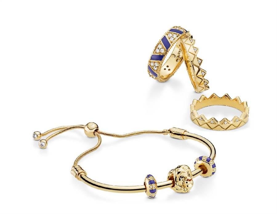 板橋大遠百PANDORA Disney獅子王系列季節限定辛巴鍍18K金串飾,2880元。(遠百提供)
