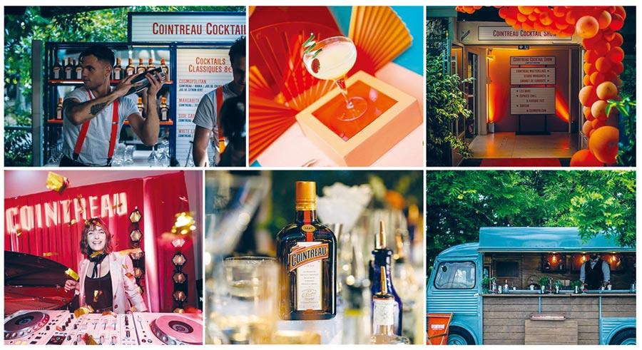慶祝君度橙酒170周年的活動在法國巴黎香榭麗舍大街上舉辦,君度橙酒以活潑跳躍的橙金色妝點這場盛大的雞尾酒饗宴。圖/業者提供