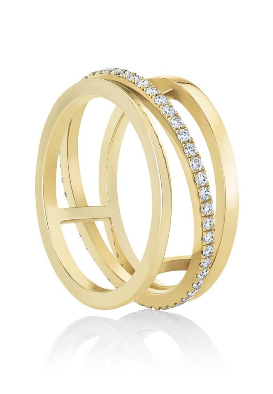 De Beers Horizon 18K黃金戒指,11萬3000元。(De Beers提供)