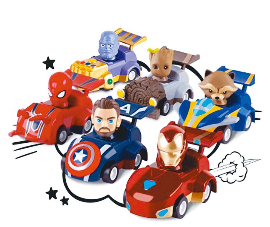 全家過去集點贈品,「漫威英雄迴力車」整組叫價到1500元。(翻攝拍賣網站)
