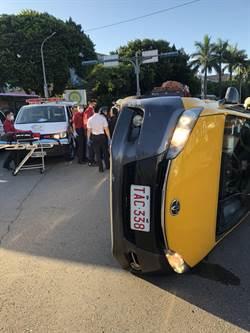 北市計程車自撞安全島  2人送醫