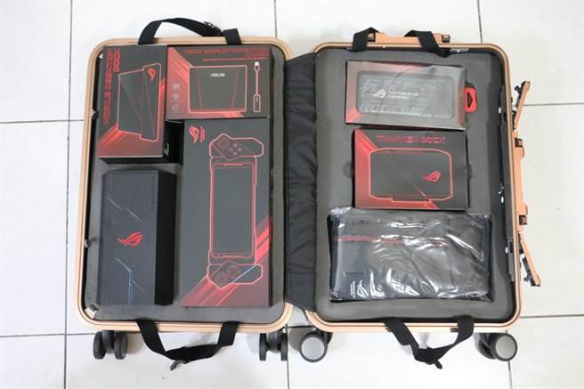 ROG行李箱以及箱內ROG Phone II與大全配配件。(圖/黃慧雯攝)