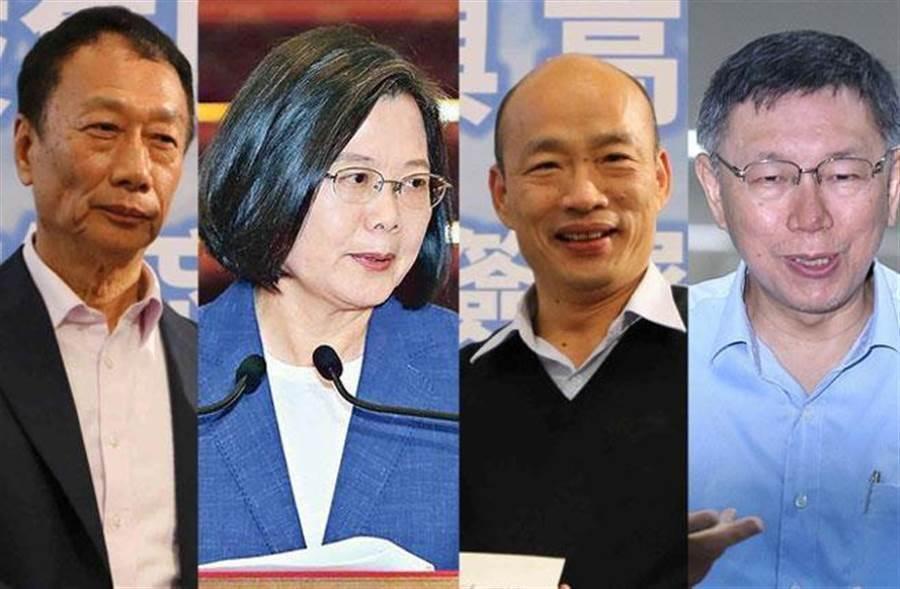 郭台銘(右)、蔡英文(右二)、韓國瑜(右三)、柯文哲。(合成照片)