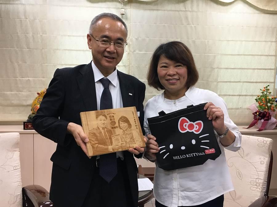 嘉義市長黃敏惠(右)與日本旅行社副社長小谷野悅光互贈伴手禮。(廖素慧攝)
