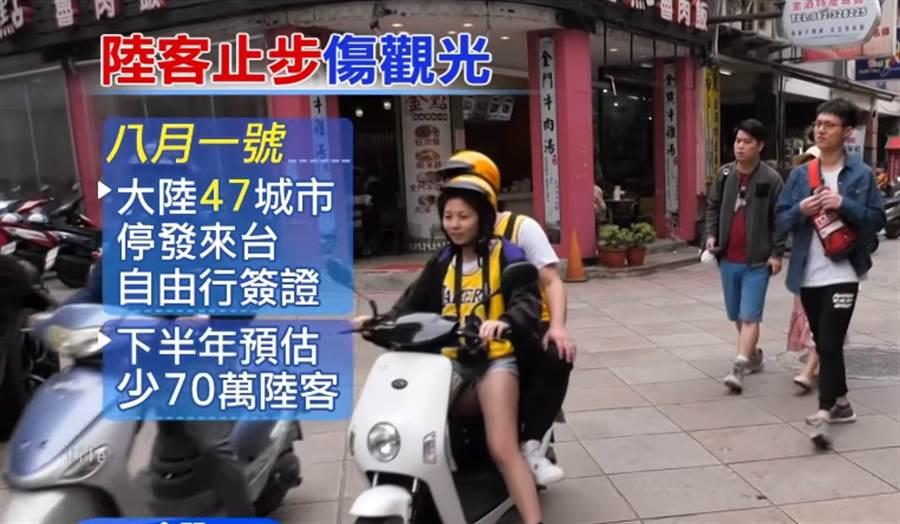 大陸47城市停發遊客來台自由行簽證(圖/擷取自中天新聞)