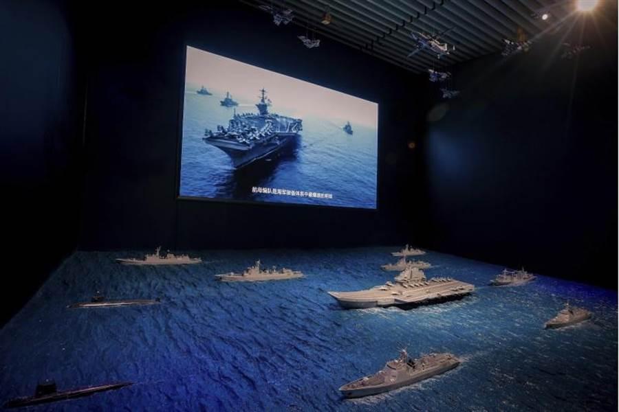 美國準海軍作戰部長表示將盡全力應對陸俄。圖為大陸遼寧號模型在大陸博物館展示。/美聯社