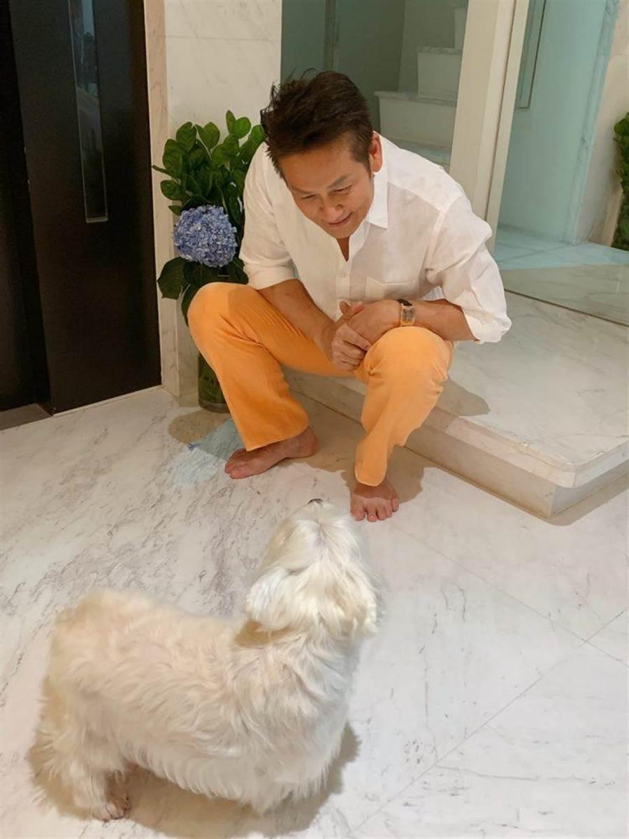 徐乃麟和狗女兒曼曼在家中形影不離。(17Media提供)