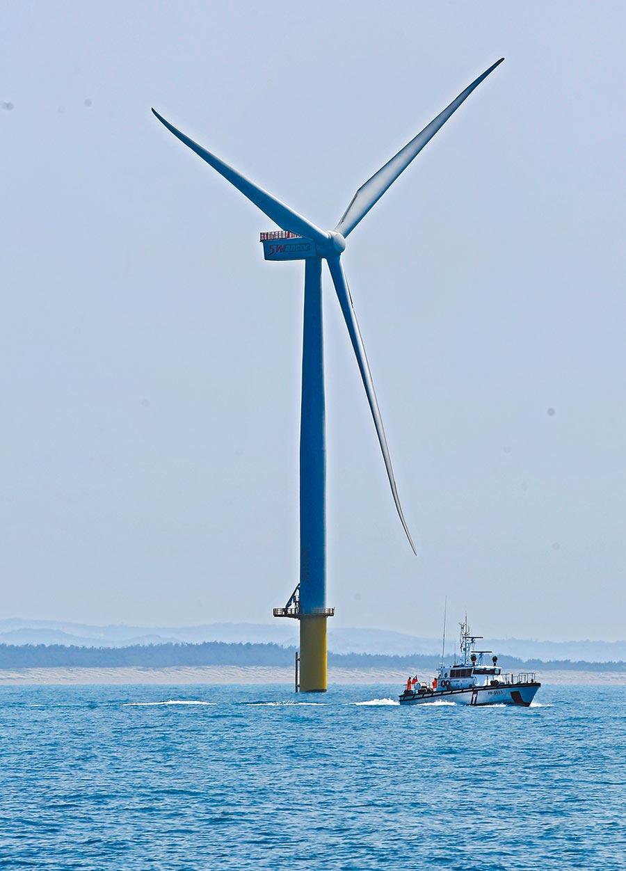 上緯投控旗下上緯新能源規劃的海洋風電第一階段示範風機。圖/本報資料照片