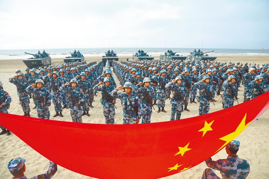 海軍陸戰隊參賽隊員舉行出征儀式。(王瑋攝)