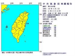 花蓮深夜地震 規模4.5 震度4級