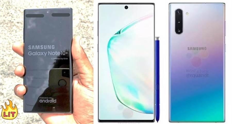 三星 Galaxy Note 10+ 實機照片疑似曝光,右為先前提前曝光的 Galaxy Note 10 官方圖片。(圖/翻攝Twitter與winfuture.de)