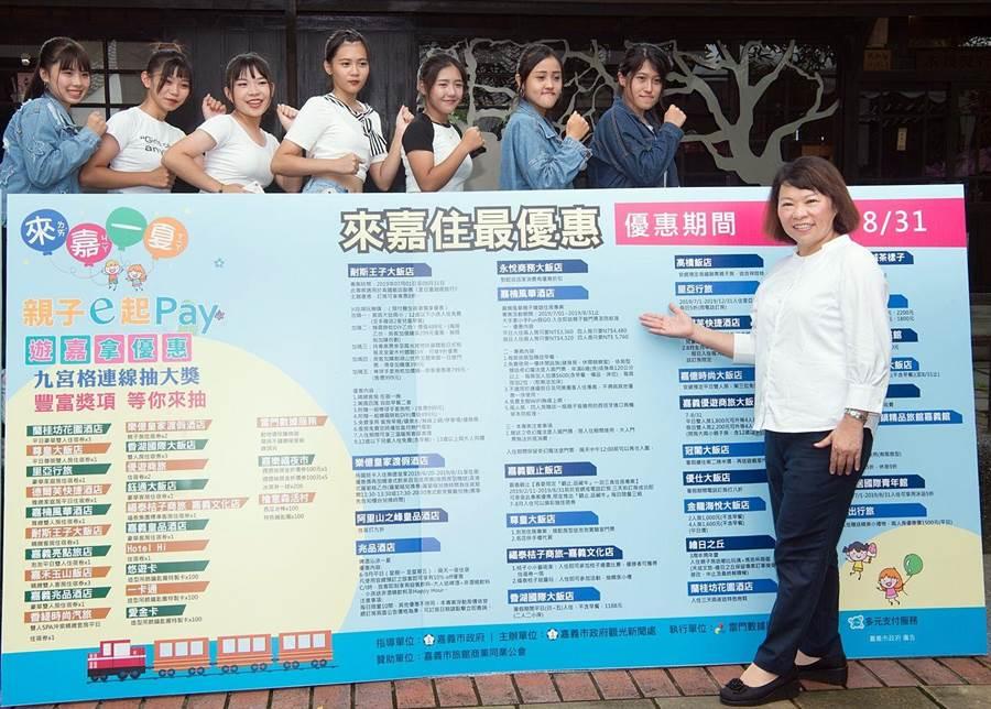 嘉義市長黃敏惠歡迎大家來嘉住宿遊玩,使用行動支付消費。(廖素慧攝)