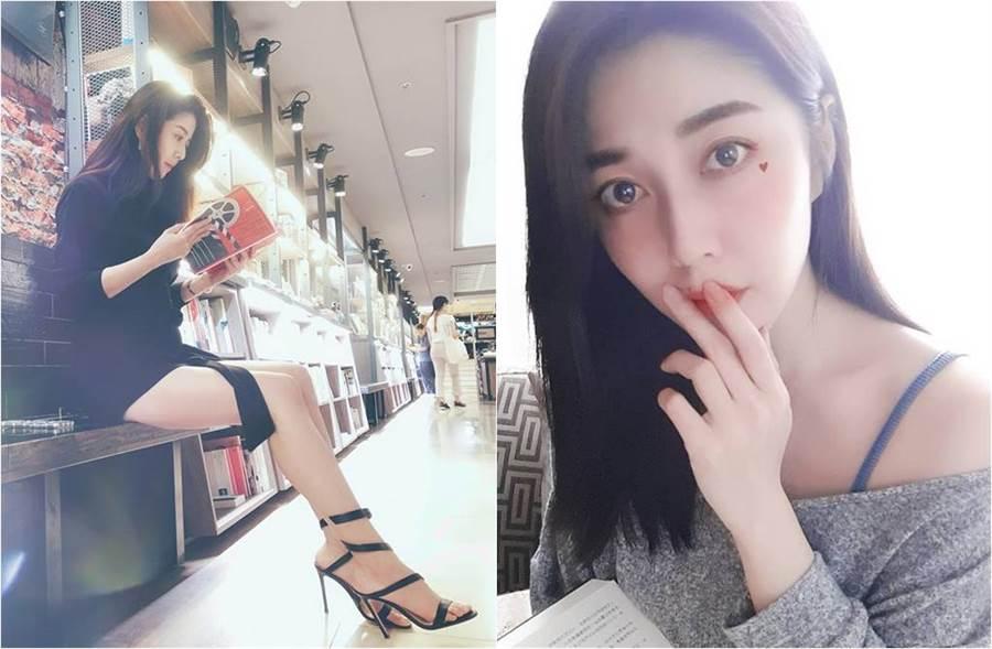 韓瑜辣曬看書照(圖左),一雙美腿超吸睛。(圖/取材自韓瑜Angel Han臉書)