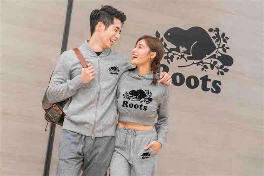 左:S&P刷毛夾克4980元,S&P長棉褲2580元。登山後背包1萬2800元。右:S&P短版毛圈布連帽上衣2580元,S&P毛圈布寬版棉褲2580元。(Roots提供)