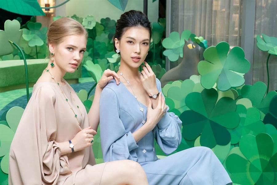 名模王思偉佩戴梵克雅寶Alhambra珠寶,笑說是她買得起的珠寶,特別有FU。(Chris Tzou提供)