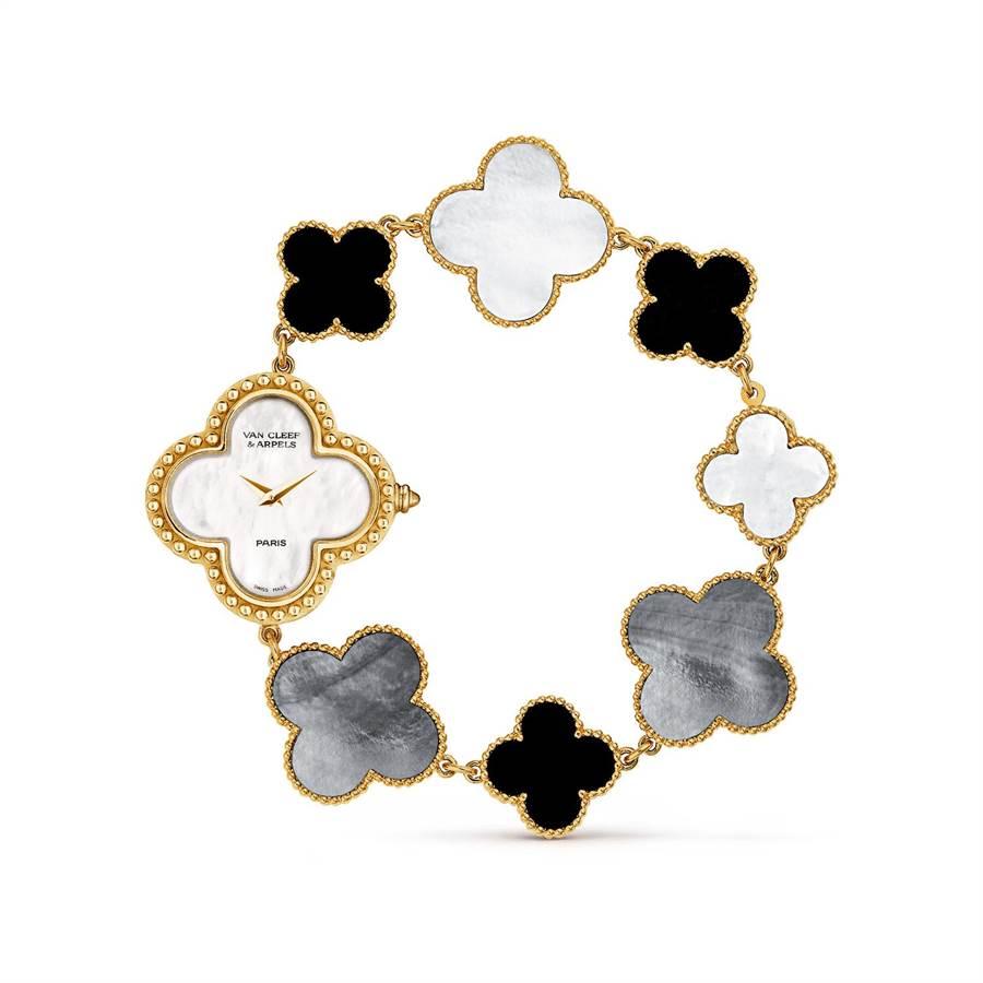 梵克雅寶Alhambra腕表,黃K金、縞瑪瑙、珍珠母貝,約46萬7000元。(Van Cleef & Arpels提供)