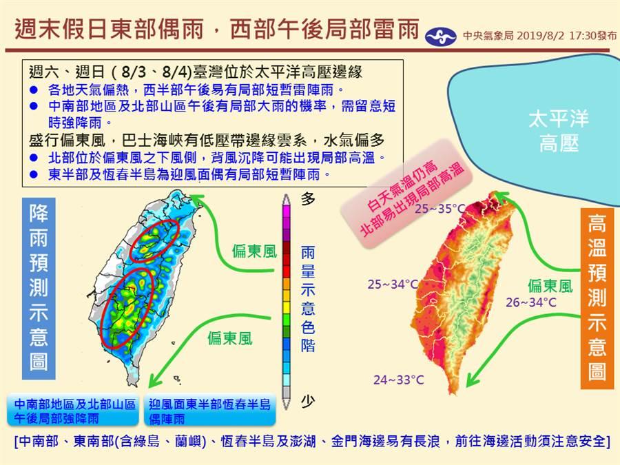 台灣位於太平洋高壓邊緣,盛行偏東風,各地天氣炎熱,西半部午後易局部短暫雷陣雨,尤其南部地區及北部山區需留意短時強降雨。(圖擷自氣象局粉專)