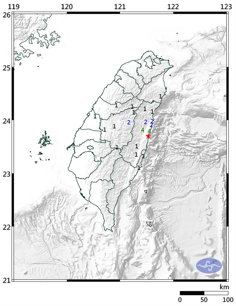 21:53花蓮發生規模4.5有感地震