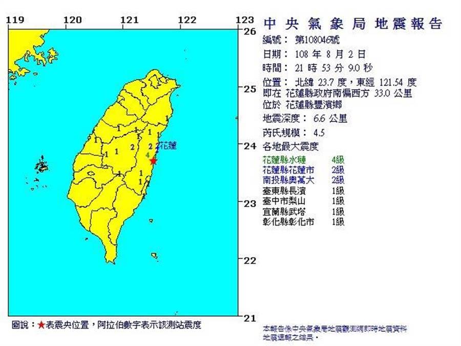 花蓮今晚地牛又翻身,發生一起芮氏規模4.5的有感地震。(圖/取自氣象局網頁)